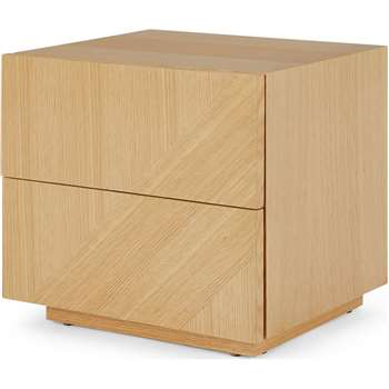Hazzard Bedside Table, Oak (H42 x W45 x D38cm)