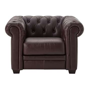 Heart of House Chesterfield Leather Chair - Chocolate 70 x 104cm