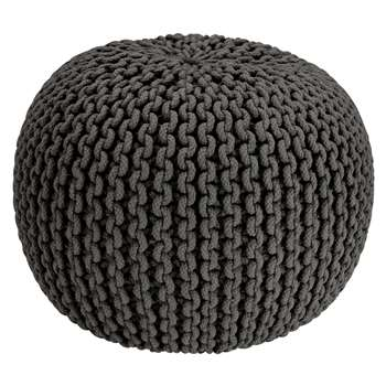 Argos Home Cotton Knitted Pod Footstool - Charcoal (H35 x W50 x D50cm)