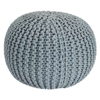 Heart of House Cotton Knitted Pod Footstool - Duck Egg
