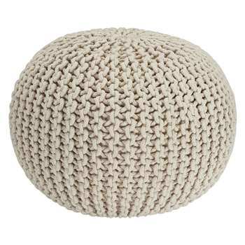 Heart of House Cotton Knitted Pod Footstool - Natural