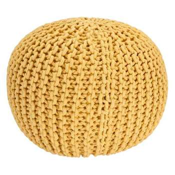Heart of House Cotton Knitted Pod Footstool - Yellow