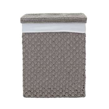 Heart of House Crochet 70 Litre Laundry Bin - Grey 55 x 38cm