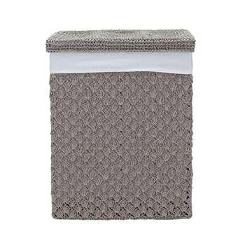 Heart of House Crochet 70 Litre Laundry Bin - Grey 55 x 38cm
