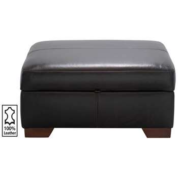 Heart of House Eton Leather Footstool - Chocolate