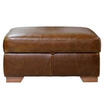Heart of House Eton Leather Footstool - Tan