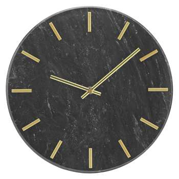 Heart of House Montgomery Marble Wall Clock - Black & Gold (H30 x W30 x D4.5cm)