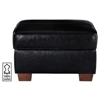 Heart of House Salisbury Leather Footstool - Black