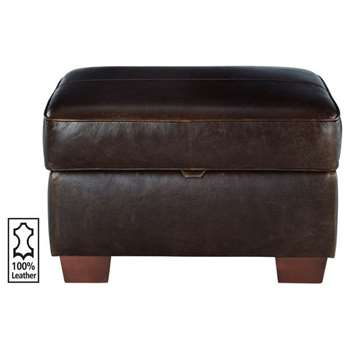 Heart of House Salisbury Leather Footstool - Chocolate