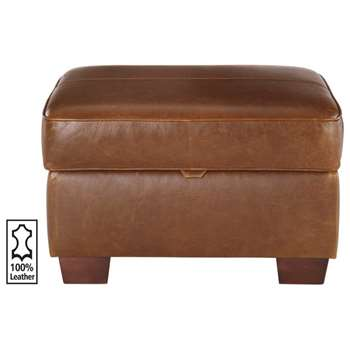 Heart of House Salisbury Leather Footstool - Tan