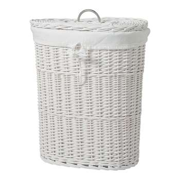 Heart of House Willow Linen Bin - White 56 x 48cm