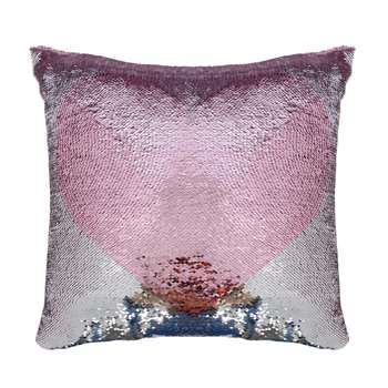 Heart Sequin Pink Cushion (H40 x W40cm)