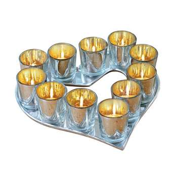 Heart Shape Candle Holder with Set of 11 Tealight Votives (Width 30cm)