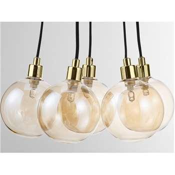 Heather Multi Globe Cluster Lamp, Multi Smoked Glass (H100 x W12 x D12cm)