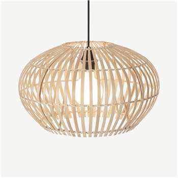 Hector Large Wide Lamp Shade, Natural Bamboo (H27 x W45 x D45cm)