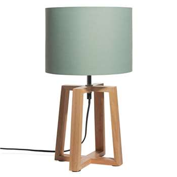 HEDMARK Rubber Wood Lamp with Green Shade (H44 x W26 x D25cm)