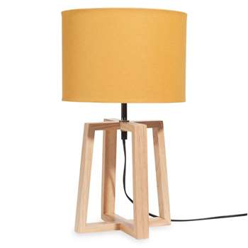 HEDMARK Rubber Wood Lamp with Mustard Shade (H44 x W26 x D25cm)