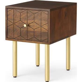Hedra Bedside Table, Mango Wood & Brass (H53 x W36 x D45cm)