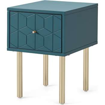 Hedra Bedside Table, Teal and Brass (H53 x W36 x D45cm)