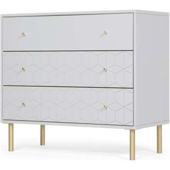 Hedra Chest of Drawers, Grey and Brass (H82 x W90 x D44cm)