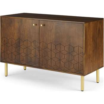 Hedra Sideboard, Mango wood and Brass (H76 x W112 x D45cm)