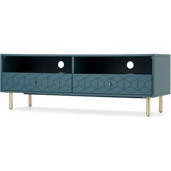 Hedra TV Stand, Brass and Teal (H47 x W134 x D45cm)