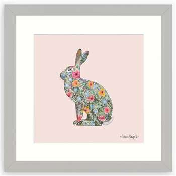 Helen Magee - Hairy Fruit Hare Framed Print & Mount, Pink/Multi (H33.5 x W33.5 x D2cm)