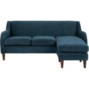 Helena Large Corner Sofa, Plush Teal Velvet (81 x 195cm)