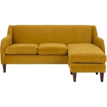 Helena Large Corner Sofa, Plush Tumeric Velvet (81 x 195cm)