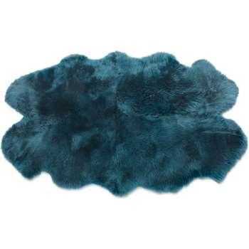 Helgar Quad Sheepskin Rug, Dark Teal (H105 x W170 x D3cm)