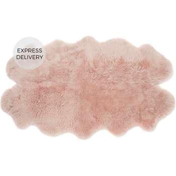 Helgar Quad Sheepskin Rug, Dusky Pink (H105 x W170 x D3cm)