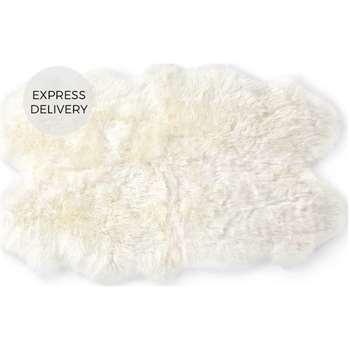 Helgar Quad Sheepskin Rug, Ivory (H105 x W170 x D3cm)