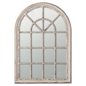 Heligan Arched Window Wall Mirror - Distressed White (150 x 100cm)