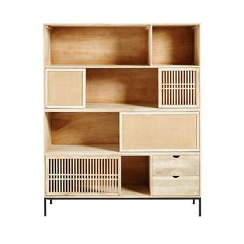 HELIOS Solid Mango Wood 4-Door 2-Drawer Bookcase (178 x 145cm)