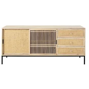 HELIOS Solid Mango Wood and Rattan 2-Door 3-Drawer Sideboard (90 x 175cm)