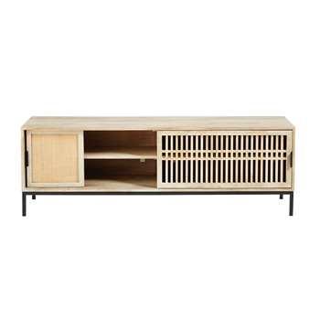 HELIOS Solid Mango Wood and Rattan 2-Door TV Cabinet (50 x 150cm)