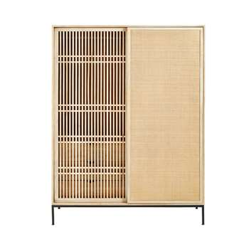 HELIOS Solid Mango Wood and Rattan 2-Door Wardrobe (180 x 130cm)