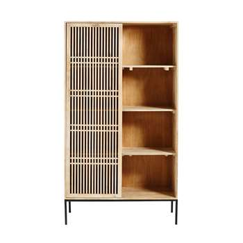 HELIOS Solid Mango Wood Bookcase with 1 Sliding Door (190 x 100cm)