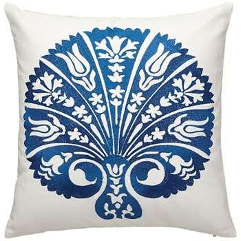 Hellas Cushion Cover, Medium - Blue/White (46 x 46cm)