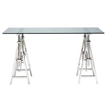 HELSINKI Glass and chrome metal desk W 150cm