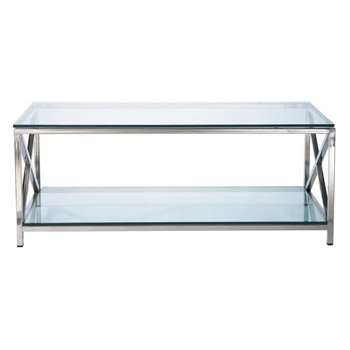 HELSINKI Glass and metal coffee table (42 x 110cm)