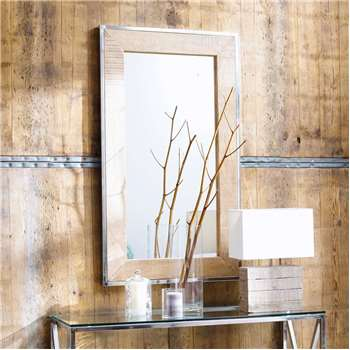 HELSINKI mango wood and metal mirror in chrome finish H 120cm