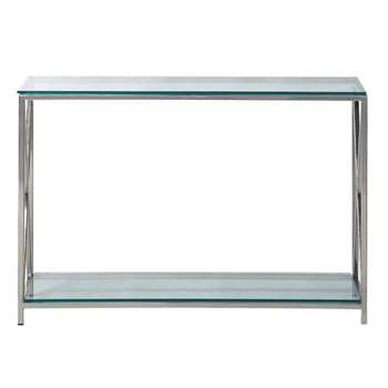 HELSINKI Steel and glass console table in chrome finish (Width 119cm)