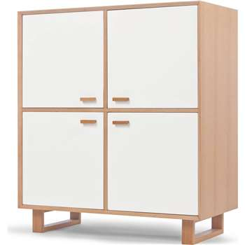 Henge Large Storage Unit, Oak and White (117 x 104cm)