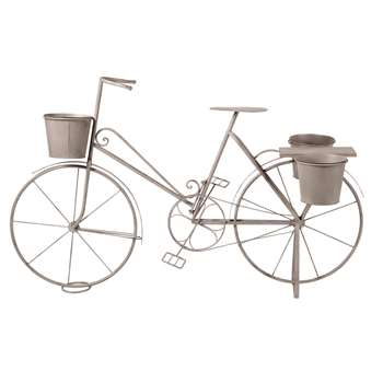 HENRIETTE Aged Effect Grey Metal Bicycle Plant Stand (H84.5 x W138 x D55cm)