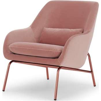 Henrik Accent Chair, Vintage Pink Velvet and Copper (H86 x W77 x D87cm)