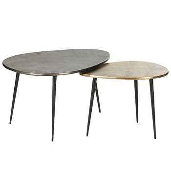 HENRIK - Aged Effect Gold and Black Metal Side Tables (H40 x W70 x D55cm)
