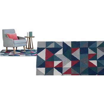 Henrik Large Hand Tufted Wool Rug, Grey and Red Multi (160 x 230cm)