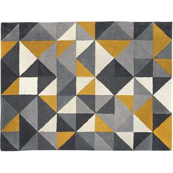 Henrik Large Hand Tufted Wool Rug, Mustard Yellow and Grey (H160 x W230cm)