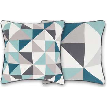 Henrik Set of 2 Cushions, Aqua Blue Grey (H45 x W45cm)